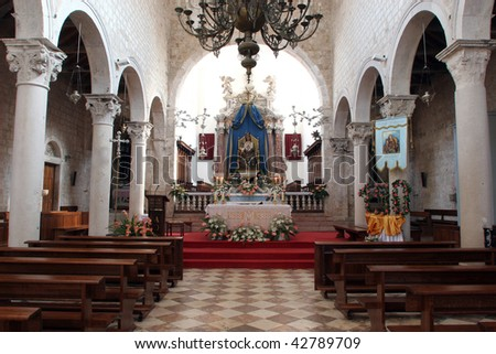 Altar in the Church of Assumption of the Blessed Virgin Mary in Pag - stock photo
