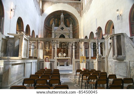 Altar of the Basilica Santa Maria in Cosmedin, where is located Bocca Della Verita in Rome, Italy