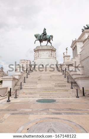 Altare della Patria (Altar of the Fatherland) is a monument built in honour of Victor Emmanuel, the first king of a unified Italy, located in Rome, Italy. - stock photo