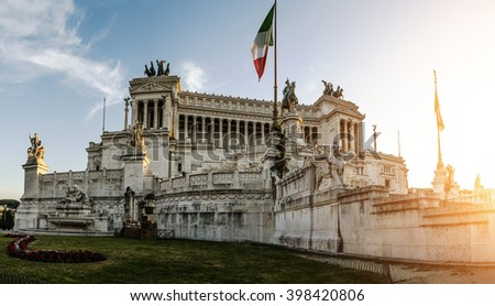 Altare della Patria, is a monument built in honour of Victor Emmanuel, first king of a unified Italy, located in Rome, Italy. It occupies a site between Piazza Venezia and Capitoline Hill. - stock photo