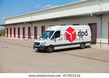 ALTENTREPTOW / GERMANY - MAY 5: a german mercedes benz van from dpd stands on logistic depot in altentreptow / germany on may 5, 2016.