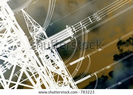 altered image of power pylon - stock photo