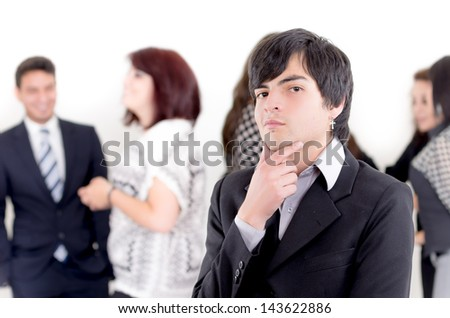 Alternative business man in front of a group of people - stock photo