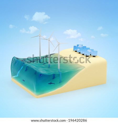 Alternative Energy Concept. Piece of Miniature Beach with Ocean, Windmills and Solar Panels on blue background with clouds - stock photo