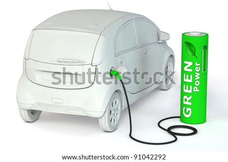 alternative energy green power - a green battery as a fuel pump fuels an E-Car