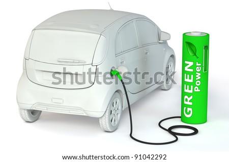 alternative energy green power - a green battery as a fuel pump fuels an E-Car - stock photo
