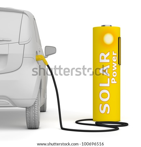 alternative energy green power - a solar battery as a fuel pump fuels an E-Car - back view, square aspect ratio