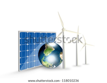 Alternative Energy (solar cell, earth, wind turbine ) Elements of this image furnished by NASA - stock photo