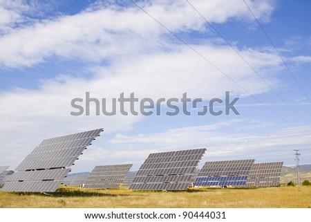Alternative energy sources. Solar panels. - stock photo