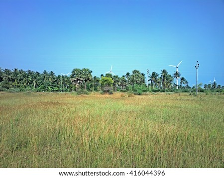 Alternative energy sources 4. Wind farm in Indian province of Kerala. Many wind-powered generators stand in coconut palms forest - stock photo