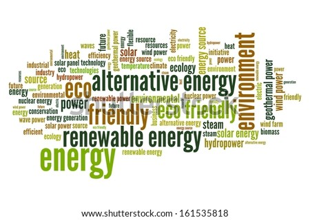 Alternative energy word cloud illustration. Word collage concept.