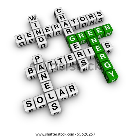 Alternative Green Energy (3D crossword cubes series) - stock photo