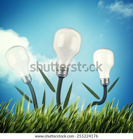 Alternative power and energy design - stock photo