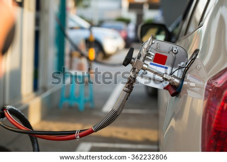 Alternative refuel fuel ,CNG,LPG ,NGV in your vehicle - stock photo