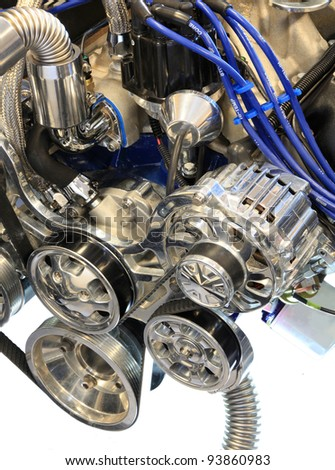 Alternator, Pulley and Belt on a Chrome Automobile Engine