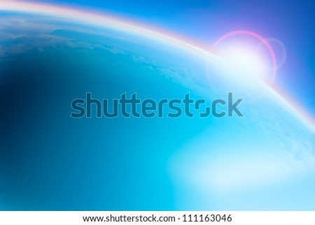 altitude planet earth view between sky and space - stock photo