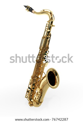 Alto sax against white background - stock photo