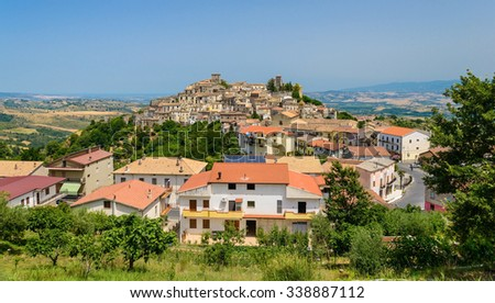 Altomonte town overall viewseen from a road, Cosenza, Calabria, Italy. - stock photo