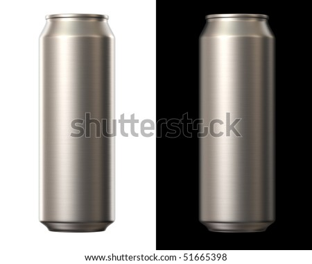 aluminium beer can isolated on white and black background