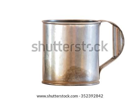 Aluminium bucket isolated on white background. - stock photo