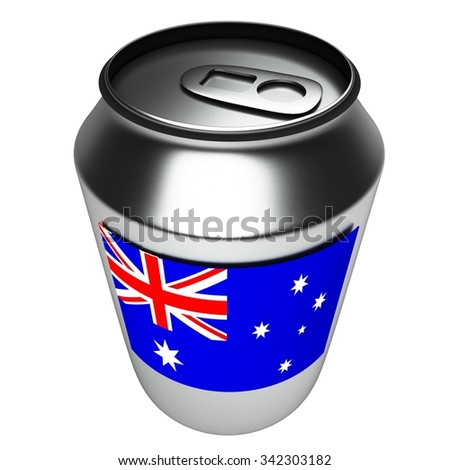 Aluminium can with Australia flag, isolated over white background, 3d render - stock photo