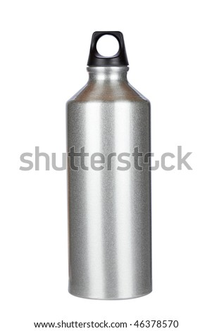 Aluminium canteen isolated on white background. Path included - stock photo