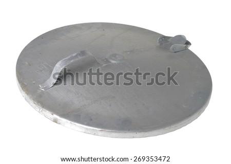aluminium lid isolated on white - stock photo