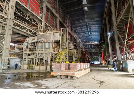 Aluminium molds and steel cats in production shop  in a smelter hall , foundry factory AURUBIS, Pirdop, Bulgaria, November 05, 2015 - stock photo