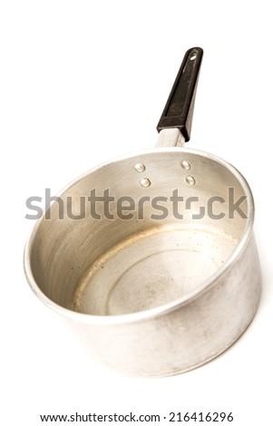 Aluminium pot on white background - stock photo