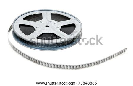 Aluminium reel of film isolated on white background - stock photo
