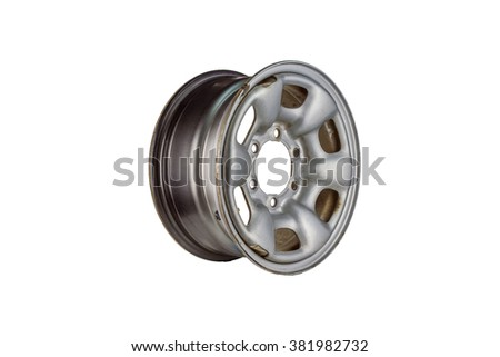 aluminium steel wheel against white background - stock photo