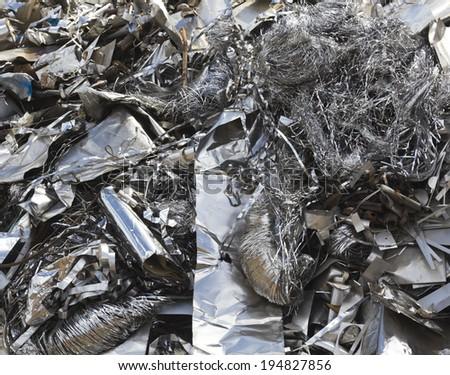 Aluminium waste in the scrapyard - stock photo
