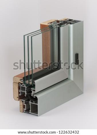 Aluminium window with wooden wrap sample - stock photo