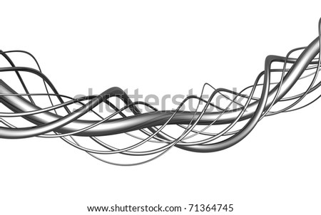 Aluminum abstract string artwork isolated background 3d illustration