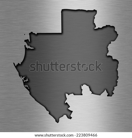 Aluminum background with map - Gabon