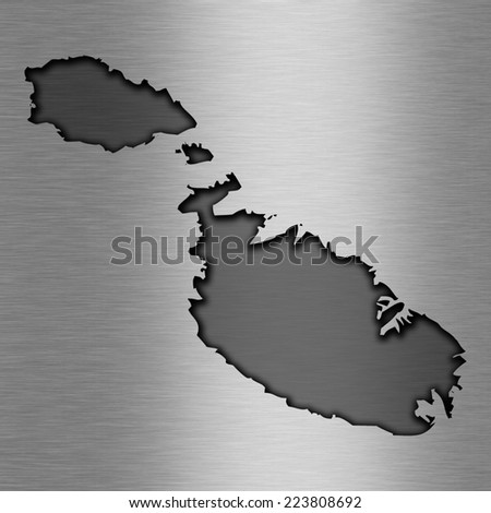 Aluminum background with map - Malta - stock photo