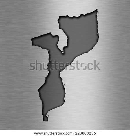 Aluminum background with map - Mozambique
