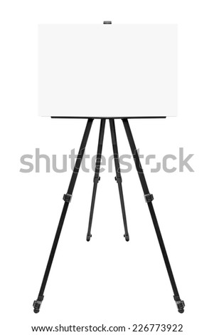 Aluminum black easel with a blank white paper on it perfect for pasting artwork noticed or commercial adds isolated on white background with clipping path - stock photo