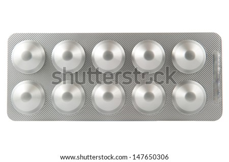 Aluminum blister pack show medicine background