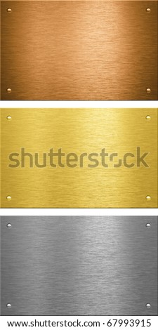 Aluminum brass bronze stitched metal plates with rivets - stock photo