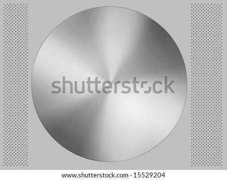 aluminum brushed modern circle on gray aluminium texture metal background with black holes on the edges - stock photo