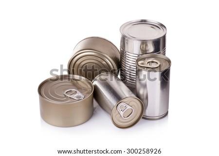 Aluminum can on white background - stock photo