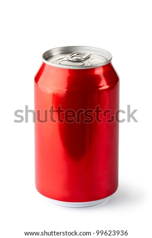 Aluminum can with the ring pull. Isolated on a white. - stock photo