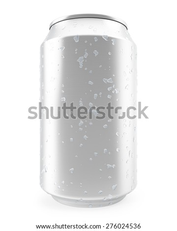 Aluminum can with water drops isolated on white background. 3d illustration - stock photo
