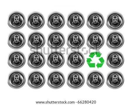 Aluminum cans isolated against a white background - stock photo