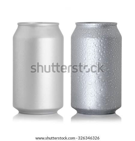 aluminum cans isolated on white background - stock photo