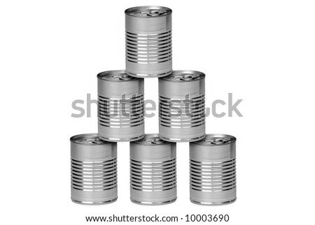 Aluminum cans stacked isolated over a white background - stock photo