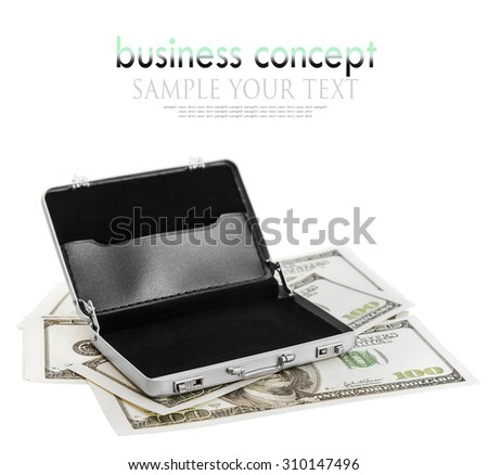aluminum case for the dollar. Focus on the handle of the case. delete text - stock photo