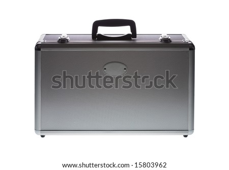 Aluminum case isolated against white background with oval label providing space for logo - stock photo