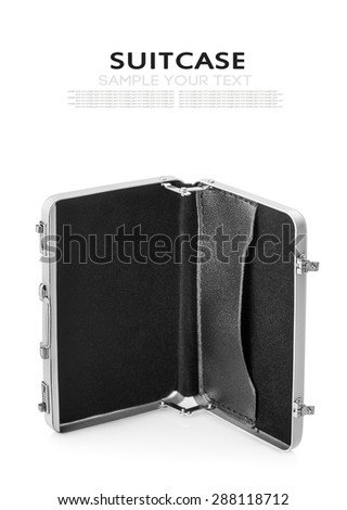 Aluminum case small isolated on a white background. Focus on the handle of the case